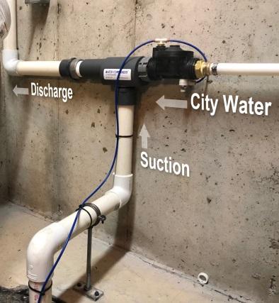 Water-Powered Backup Sump Pump Illustration