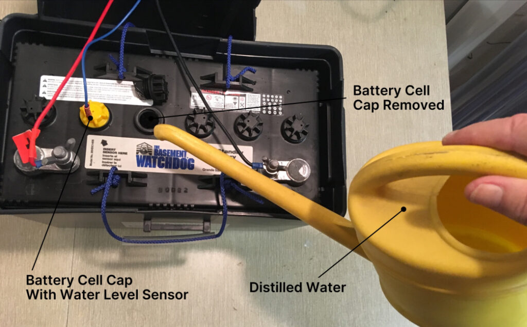 Filling battery cells with distilled water